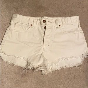 Free people white high waisted cut off short